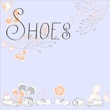 Inscription SHOES. With floral ornament Royalty Free Stock Image