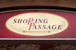 Inscription shopping passage. On the signboard Royalty Free Stock Images