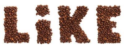 Inscription similaire des grains de café rôtis d'isolement Image libre de droits