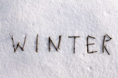 The inscription on the snow. In winter Stock Photos