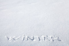 Inscription on the Snow Stock Photos