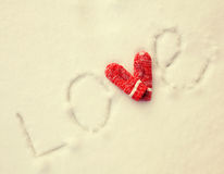Inscription on the snow Royalty Free Stock Images