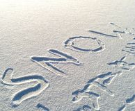 Inscription on snow - snow Royalty Free Stock Photography