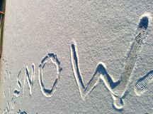 Inscription on snow - snow Royalty Free Stock Photos