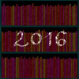 2016 inscription of snowflakes over bookshelf. 2016 inscription of snowflakes over books in library shelf Royalty Free Stock Image