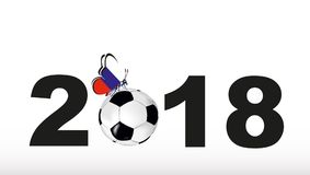 Texture with a soccer ball and butterfly with flag of Russia and inscription 2018. Inscription 2018 with a soccer ball and butterfly with flag of Russia Stock Photography