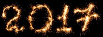 Inscription 2017 sparklers on black background. Inscription 2017 sparklers on black royalty free illustration