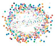 Inscription spring confetti. Vector illusytation. 10 eps Stock Photography