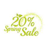 Inscription spring sale. Bright text with a circular green banner. Isolate on white background. Vector illustration template. 20 percentage Royalty Free Stock Image