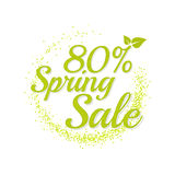Inscription spring sale. Bright text with a circular green banner. Isolate on white background. Vector illustration template. 80 percentage Royalty Free Stock Image