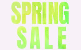 Inscription Spring Sale in green on a white background royalty free stock images