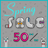 Inscription Spring Sale. Vector Illustration royalty free stock image