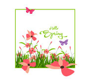 Inscription Spring Time on background with spring flowers and butterflies Stock Image