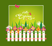 Inscription Spring Time on background with spring flowers and butterflies Royalty Free Stock Photo