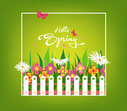 Inscription Spring Time on background with spring flowers and butterflies Stock Photography