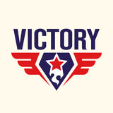The inscription with the Star of Victory with a torch and wings. Royalty Free Stock Photography