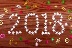 the inscription 2018 stars on wooden background, Christmas decoration, Christmas, new year, two thousand eighteen, Christmas backg royalty free stock images