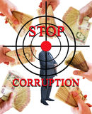 Inscription stop corruption with target hand money Royalty Free Stock Photo