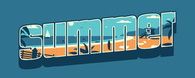 Inscription Summer with beach landscape. T-shirt print. Royalty Free Stock Image