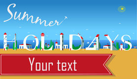 Inscription Summer Holidays. Vector Illustration Royalty Free Stock Images