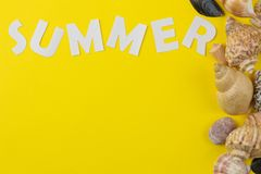 The inscription summer of paper white letters and seashells on a bright yellow background. Summer. relaxation. vacation. top view royalty free stock image