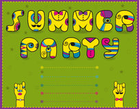 Inscription Summer Party. Funny yellow Letters Royalty Free Stock Photos