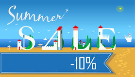 Inscription Summer Sale. Vector Illustration Royalty Free Stock Photos