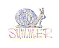 He inscription in the summer with a stylized colored snail and sun. Vector. Stock Images