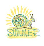 He inscription in the summer with a stylized colored snail and sun. Vector. Royalty Free Stock Photography