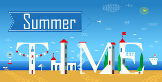 Inscription Summer time. Vector Illustration Royalty Free Stock Photography