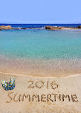 Inscription summertime 2016 and the sea Royalty Free Stock Photography