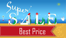 Inscription Super Sale. Vector Illustration stock images