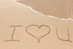 Inscription sur la plage Images stock