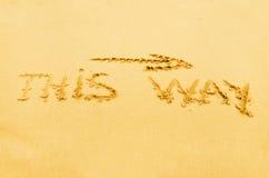 Inscription sur le sable Image stock