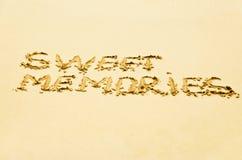 Inscription sur le sable Photo stock