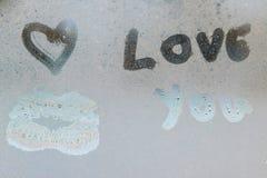 Inscription sur le verre en sueur Photo libre de droits