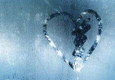 Inscription sur le verre en sueur - amour et coeur Photos libres de droits
