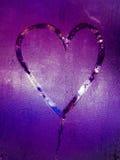 Inscription sur le verre en sueur - amour et coeur Photo stock