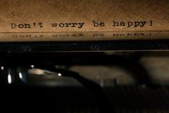 Inscription sur un label de machine à écrire Photographie stock libre de droits
