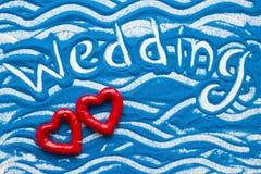 Inscription sur un sable coloré Images libres de droits