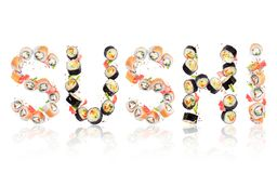 Inscription Sushi made of rolls in high resolution on white. Background royalty free stock photos