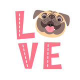 The inscription on the t-shirt of the owner of the dog. Word LOVE with a pug face. Vector illustration Royalty Free Stock Images
