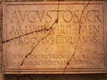 Inscription in Temple of Augustos in Herculaneum Italy I royalty free stock image