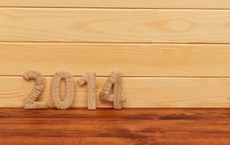 Inscription 2014 from textile. New year. Royalty Free Stock Photography