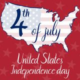 Inscription 4th of july United States independence day, flag and map of the United States of America. On red background. Elements of this image furnished by Stock Images