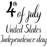 Inscription 4th of july United States independence day. On white background Royalty Free Stock Photos