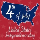 Inscription 4th of july United States independence day and map of the United States of America. On red background. Elements of this image furnished by NASA vector illustration