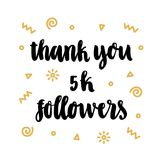 Inscription: Thank you 5k followers, hand-drawing of back ink on a white background, with gold geometric elements. Valentine`s day card. It can be used as a stock illustration