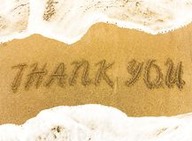 Inscription tHANK YOU on the yellow sand.t
