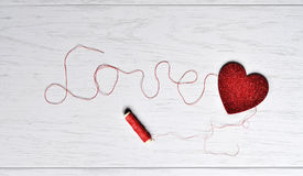 The inscription of the thread - love royalty free stock image